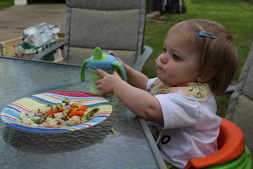 Annie's first meal at the patio table