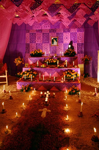 Altar with flower petal carpet