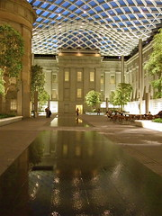 Kogod by night (catface3) Tags: roof reflection geometric fountain pool museum architecture night washingtondc smithsonian dc lattice undulating portraitgallery americanart catface3 kogodcourtyard