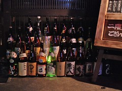 Bottles of sake, Pontocho Road, Kyoto (wiggoaugogo) Tags: kyoto sake pontocho