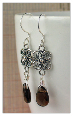 Smoky quartz & silver earrings