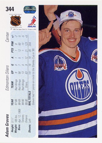 Adam Graves, Edmonton Oilers, 90-91 Upper Deck, hockey, hockey card