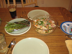 Valentine's Day dinner - Chicken fricassee over orzo and roasted asparagus