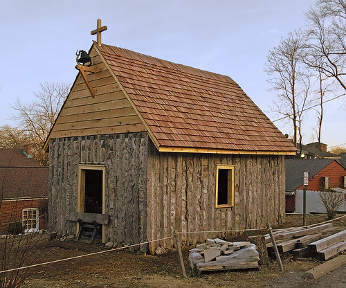 Reconstructed Saint Charles Borromeo log church, in Saint Charles, Missouri, USA
