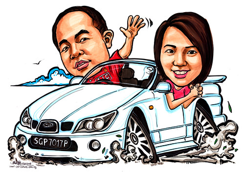 Caricatures couple Subaru Impreza