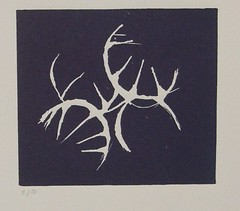 'Hachures - Linocut - Dark blue' - mezzotint on Flickr