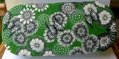 Black White and Green covered tin (cvstearns) Tags: flowers butterfly carolyn tin clay canes stearns polymer milliefiori