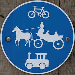 Bicycle, horse and cart and train lane (Leo Reynolds) Tags: sign canon eos iso100 squaredcircle f8 peril 200mm signsafety signtraffic 0ev 0008sec 40d hpexif signcircle groupperil xratio11x sqset031 postworboys xleol30x