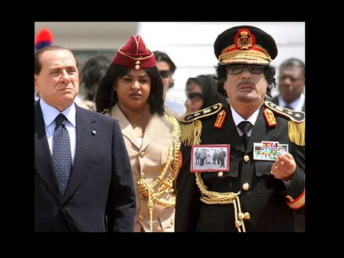 Muammar Gaddafi w gorgeous amazon guard, and , that berlusconi crook
