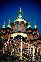 Orthodox Faith Cathedral (kreego) Tags: sky brick fence finland temple gold golden helsinki europe heaven cathedral faith spire canon5d onion ironwork ornate orthodoxchurch canonef50mmf14usm uspenskinkatedraali uspenskycathedral kreego christianharberts