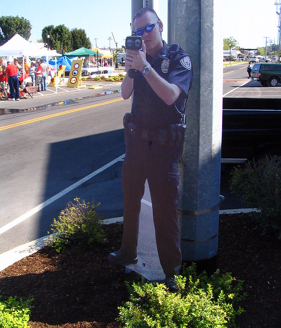 The Cardboard Cop radars during Smyrna Depot Days