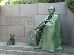 Franklin D. Roosevelt with his dog, Falla