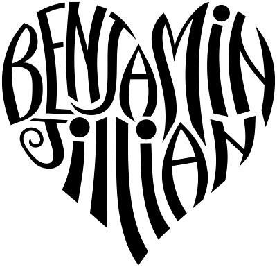 "A custom design of the names ""Benjamin"" & ""Jillian"", created in a heart"