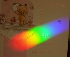 Birthday rainbow (Mrs eNil) Tags: birthday blue red orange reflection green yellow rainbow nikon spectrum violet indigo prism coolpix birthdaycard p2 nikoncoolpixp2