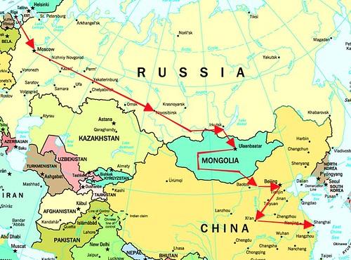 Mapa con el recorrido del Transiberiano por ti.