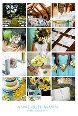 Teal, Green, & Yellow Wedding Detail Inspiration Board (Anne Ruthmann) Tags: flowers cake table decoration fans decor placecards centerpieces weddingbloomingtonindianadeerparkmanorturquoiseaquayellowcaraseanoutdoordetails