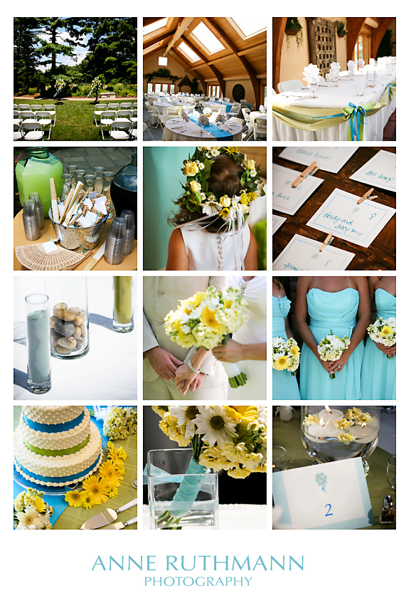 Teal, Green, & Yellow Wedding Detail Inspiration Board