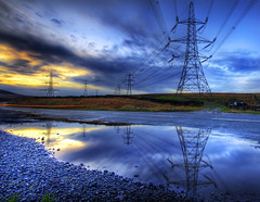 The Price of Clean Energy (Corica) Tags: uk longexposure greatbritain sunset england reflections puddle yorkshire wideangle pylons hdr rochdale sowerbybridge sigma1020mm littleborough photomatix corica blackstoneedge cleanenergy baitingsreservoir canon400d aplusphoto