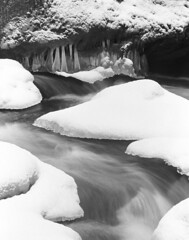 If you freeze it, they will come (Zeb Andrews) Tags: winter bw snow film ice oregon creek landscape frozen stream pacificnorthwest columbiarivergorge fujineopan400 pentax6x7 bluemooncamera elowahfalls zebandrews thisstillmakesmefeelcold zebandrewsphotography