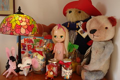 Favourite corner (girl enchanted) Tags: bear doll candy bears mohair sweets paddington tiffany jellybelly jars dollies tiffanylamp candyjar paddingtonbear jellybellymachine