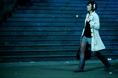 Jane Walker (Andwan) Tags: street portrait paris stockings girl night stairs necklace boots cigarette candid smoke headset trenchcoat attitude short bastille canoneos1dmarkiii canonef85mmf12liiusm