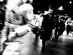 Rush (Rolf F.) Tags: street portrait people urban blackandwhite bw motion tourism monochrome station train photography schweiz switzerland interestingness interesting movement fuji dynamic action swiss main zurich running sbb explore rush hour finepix fujifilm hurry zrich canton mainstation tourismus kanton f31 f31fd rabbitriotnet swisspeeks4
