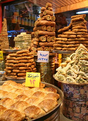Piled- up Pasteries (hazy jenius) Tags: world trip travel food shop store desert market coconut middleeast delicious arab pistachio backpack cannon sweets syria aleppo filo baklava haleb
