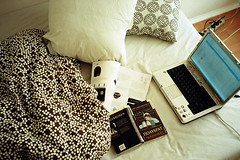 white sheets, blue eyes ( ) Tags: bed laptop whitesheet lazynoon