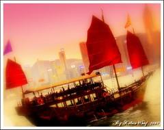 Hong Kong Symbolic ~ Old Sailing Ship (Kelvin Wong (Away)) Tags: china travel tourism water hongkong ship softfocus 2007 aplusphoto kelvinwong piscesromance tintcolours symbolicofhongkong