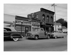 Post Card Image-Black and White (Michael Paul Smith) Tags: auto street red white black brick classic scale car paul photography miniatures michael miniature rainbow model automobile die telephone models pickup tire smith scene billboard nostalgia cast wires 1950s lincoln maker gibson whitewall dioramas diecastcars hegners
