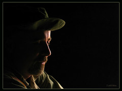 deepthoughts (1s&0sPure) Tags: light shadow portrait man male dark shadows low iraq writer iraqi journalist