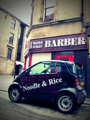 Noodle, rice & a haircut (JosefM) Tags: art mercedes swatch paisley smartcar lomoesque barbersshop stripeypole dumpr noodlerice