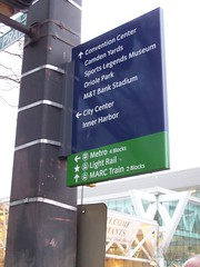 Wayfinding sign, Baltimore, with transit information