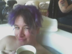 coffee and book in jacuzzi