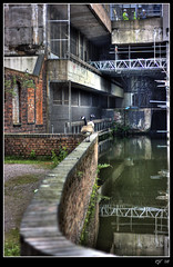 Birmingham Canal and Geese (rjt208) Tags: old city uk greatbritain england people building men nature water wall work canon reflections eos 50mm canal geese construction birmingham focus bokeh britain wildlife working system pole inner scaffold mm 50 westmidlands contractors 400d mywinners anawesomeshot diamondclassphotographer flickrdiamond theunforgettablepictures rjt rjt208 bigpicture2008