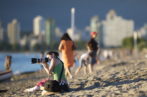 Lisa with 70-200mm on Kits Beach