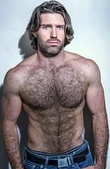 1288 (rrttrrtt555) Tags: hair hairy chest beard stubble muscles ripped shoulders underwear pants jeans belt polo buckle eyes stare masculine arms briefs curls