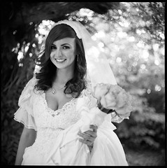 Very, very sweet, Valeria Sweet (christophergreene) Tags: wedding roses portrait 6x6 film home self photography dress photoshoot sweet bokeh 1600 bronica 400 portraiture handheld hp5 medium format valeria bridal nikkor russian ideas f28 s2 develop 75mm bouguet zenza devoloping valeriasweet