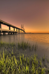Sidney Lanier Bridge Sunset (blakelipthratt) Tags: bridge sunset sky reflection water ga river georgia island sigma brunswick marsh 1020mm hdr jekyll sidneylanier xti