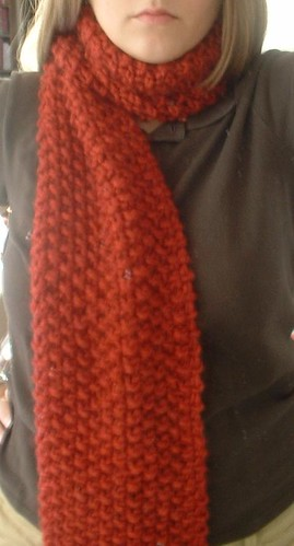 Seed Stitch Scarf Wrapped