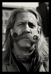 Moustache Rob - Blue (Darny) Tags: blackandwhite moustache urbancowboy handlebarmoustache ef50mmf18 webpeople darny moustacherob