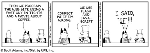 Dilbert comic de Flash y JavaScript