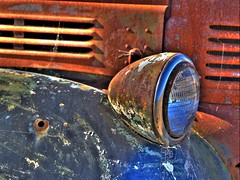 rusty textures and headlight (on2wheelz) Tags: auto abandoned car rusty dodge hdr photomatix jeffav jeffav2007