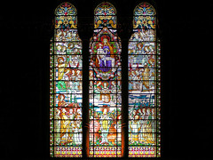 Stained glass of the basilique de Fourvire (Bn) Tags: vacation holiday france church window lyon stainedglass traveling soe glasinlood blueribbonwinner abigfave anawesomeshot aplusphoto superbmasterpiece wowiekazowie basiliquedefourvire lyoncathedral vitrailles ntredamedefourvire