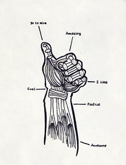 1.26.08 - Thumbs Up (invisibleElement) Tags: sketch hand muscle anatomy sharpie thumbsup invisibleelement sketchaday