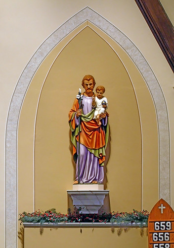 Saint Rose of Lima Roman Catholic Church, in De Soto, Missouri, USA - statue of Saint Joseph and the Christ Child