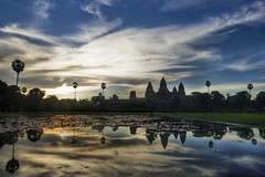 Reflections of Angkor (Stuck in Customs) Tags: morning panorama lake reflection monument water beautiful clouds sunrise reflections wonder landscape photography nikon asia cambodia soft photographer details horizon d2x perspective angkorwat shades siem reap pro portfolio total angkor wat tones hdr siemriep seamreap stuckincustoms treyratcliff