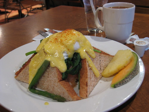 Photo by newyork808:  Breakfast at 5:50 p.m. California Benedict - Two poached eggs, smoked salmon, spinach, asparagus, on wheat bread, gruyere cheese with hollandaise. Eggspectation 220 Yonge Street, Toronto.