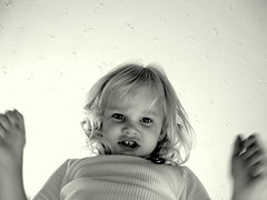 Wow..what a look little girl.. (~ Hollis ~ .) Tags: portrait people baby white canada black silly color cute eye girl beautiful smile face kids female self dark fun stand kid interesting eyes pretty arms bright you sweet air fear daughter young explore angry mean scared mad interested truro discover