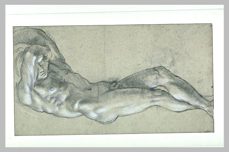 Annibale Carracci (1560-1609), Attrib. Study of Male Model. Black and white chalk on white paper. Ecole des Beaux-Arts, Paris.